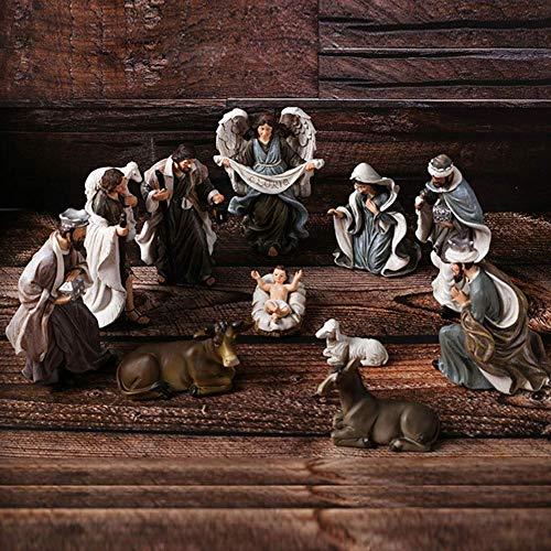 LGR Exquisita Miniatura Exquisita Escena de la Natividad navideña Conjunto decoración Adornos para el hogar Accesorios estatuilla Figura Estatua