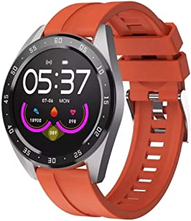 """Lamkei Bouncefit TBand Round Smartwatch (Orange) [iOS/Android Compatible, IP67 Water Resistant, White Silicone Strap, 1.3""""..."""