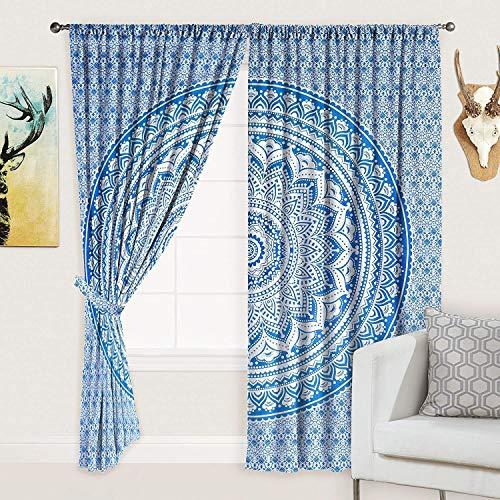 Indian Mandala Curtain Balcony Sheer Room Divider Living Room Bohemian Decor Room Darkening Blackout Gypsy Door Curtain (Blue & White)