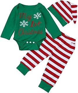 per il primo Natale Glamour Girlz berretto e calzini verde Green 0-3 mesi con pantaloni a maniche lunghe set da 4 pezzi Tutina in cotone per neonati