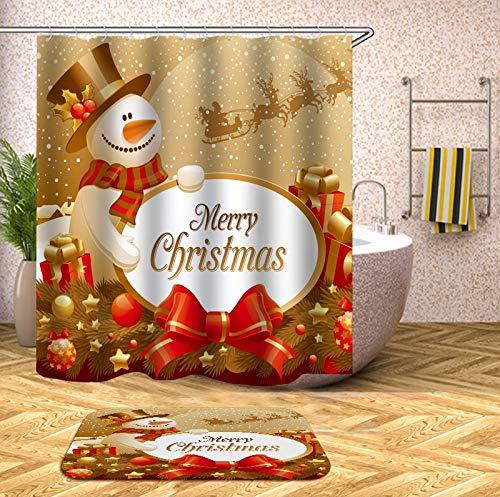 N / A Gancho navideño Cortina de Ducha de baño con Cortina de baño Cortina de Ducha 3D Tela Floral Familia navideña Cortina de Ducha de Moho Impermeable A3 180x180cm