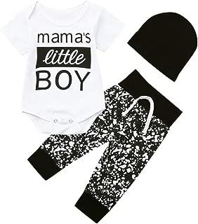 3Piece Infant Toddler Baby Boy Outfits Set,Letter Mama's Little Boy Print Short Sleeve Romper Pants Hat Suit