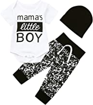 3Piece Infant Toddler Baby Boy Outfits Set,Letter Mama's Little Boy Print Short Sleeve Romper Pants Hat Suit