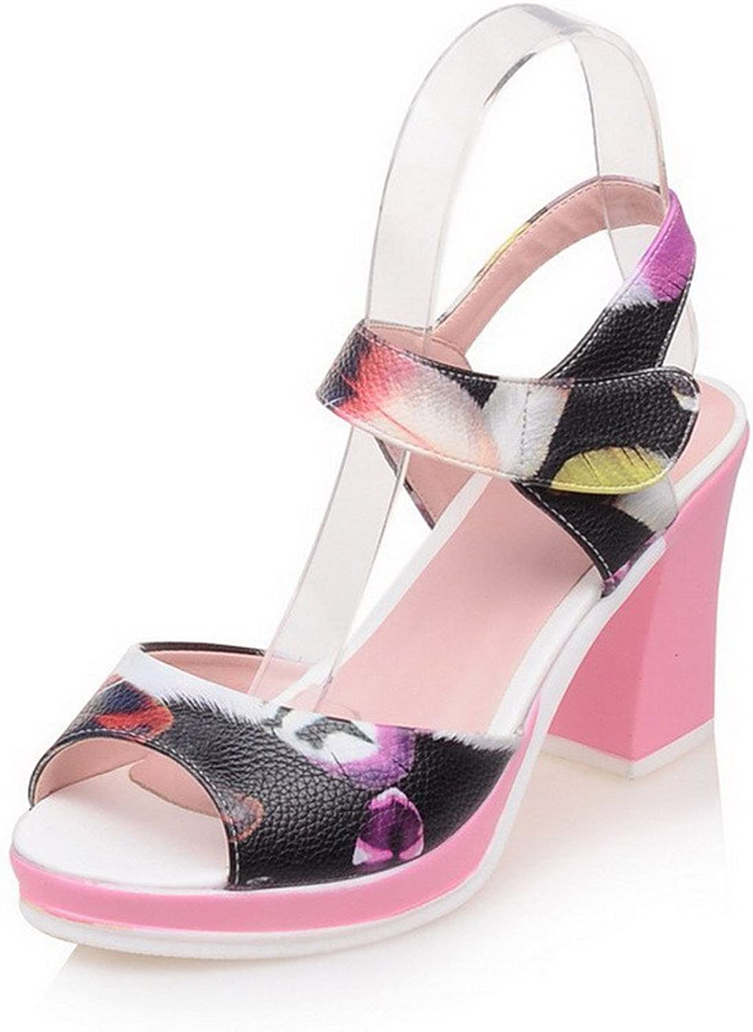 AllhqFashion Women's Open Toe High-Heels Soft Material Assorted color Hook-and-Loop Sandals