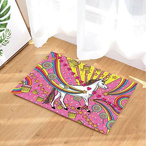 Tapis de bain pour la Saint-Valentin Superbe arc-en-ciel Licorne Lollipop anti-dérapant paillasson entrée de sol tapis de porte d'entrée pour enfants tapis de bain pour enfants 60X40CM salle de bains accessoires