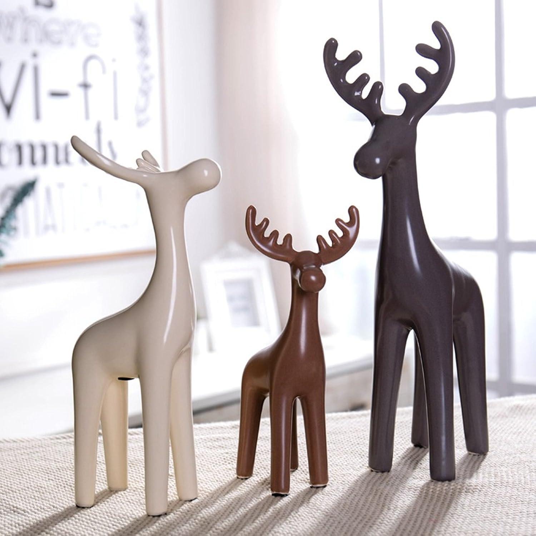 WENBO Home- Porcelain elk Table Decorations Ornaments Home Living Room Entrance Room Bookcase Office furnishings -Desktop Ornaments
