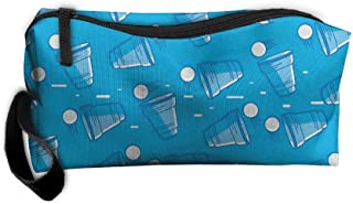 Jessent Coin Pouch Beer Pong Pattern Pen Holder Clutch Wristlet Wallets Purse Portable Storage Case Cosmetic Bags Zipper