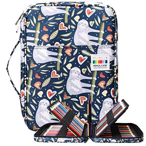 BOMKEE Trousse à crayons colorée 220 Slots Portable Dessiner Peindre Pochette Sac de rangement étanche multicouche pour stylos aquarelle pour enfants et adultes (La paresse)