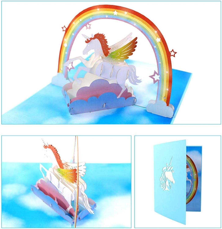 Jiahe Geburtstagskarte Einhorn Kreative 3D Stereo Pop Up Karte Büttenpapier Schnitzen Besuch Nachrichtensegen Karte B07NP9RT9J | Neuankömmling