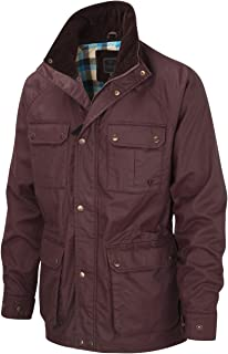 Vedoneire Mens Wax Jacket (3050 Burgundy) Maroon red Motorbike Coat