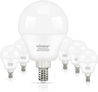 Comzler Ceiling Fan Light Bulbs Candelabra LED Bulbs - 60 watt Equivalent, 4000K Cool White Candelabra E12 Base G45 Globe Light Bulbs for Ceiling Fan,600lm,Non-Dimmable, Pack of 6