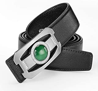 LH Mens Leather Belt Business Automatic Buckle Belt Pants with Layer of Leather,E