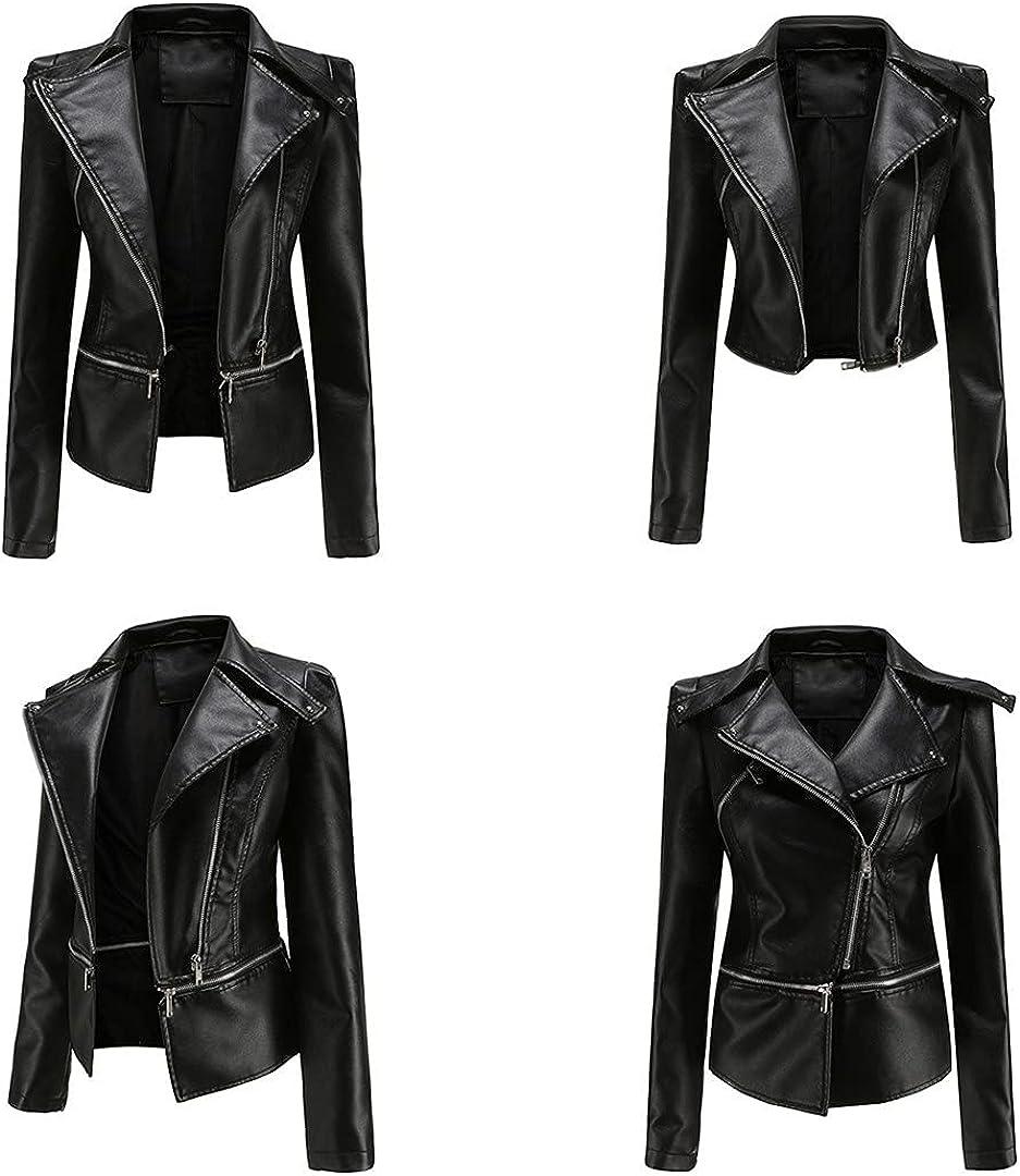 Pokem&Hent Leather Jacket Women Loose Motorcycle Jacket Women Streetwear Women Motorcycle Jacket
