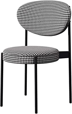 LJFYXZ Modern Design Dining Chairs with backrest Kitchen Dining Table and Chairs Fabric Cushion Home Study Chair Metal Frame Load-Bearing 150kg 41x50x83cm (Color : Black)