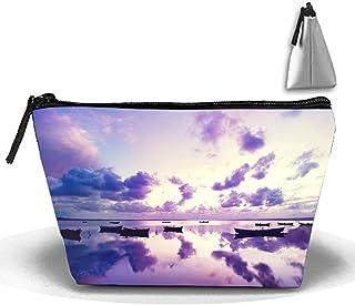 Bolsas de cosméticos Bolsa de cepillo Purple Sunset Ocean Bolsa de maquillaje portátil Cremallera trapezoidal Strorege Bolsa