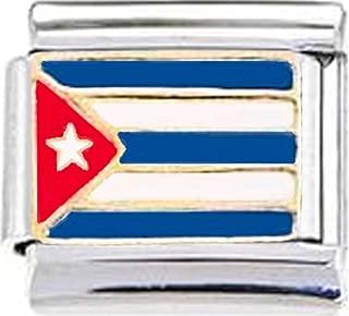 Cuba Cuban Flag Enamel Italian 9mm Link PE008