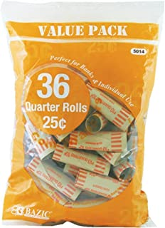 1 X Quarter Coin Wrappers, 36 Per Pack - 2 Pack (72 Total)