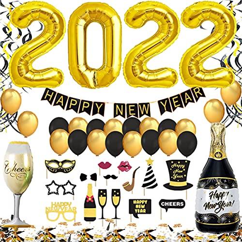 Jonami Decorazioni Capodanno 2021 Set XXL, Festone Buon Anno Happy New Year, Palloncini Nero Oro, 2021 Gigante, Spirali, Accessori Foto Booth, Coriandoli per Il Veglione Cenone di San Silvestro