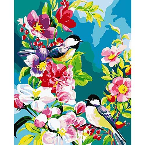 yaonuli Branch Vogel Tier DIY Digitale Malerei Stoff einzigartige Geburtstagsgeschenk Hauptdekoration 40x50cmRahmenlos