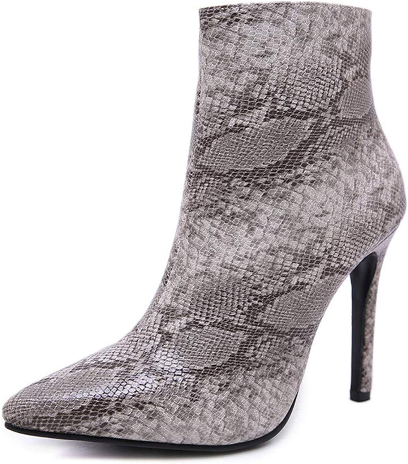 Winter Ladies Snakeskin Stiletto Pointed Boots Large Size PU Leather Warm Artificial Faux Lining