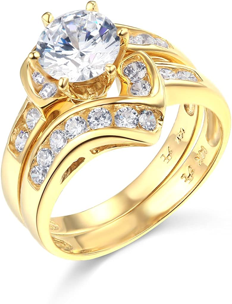 TWJC 14k Yellow Gold Solid Wedding Engagement Ring and Wedding Band 2 Piece Set
