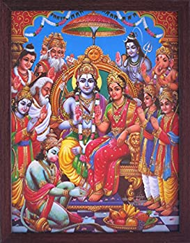 Hanuman Ram Darbar A Holy and Hindu Religious Gathering of Lord Ram Sita and Laxman A Hindu Religious Poster Painting with Frame for Hindu Religious and Gift Purpose.