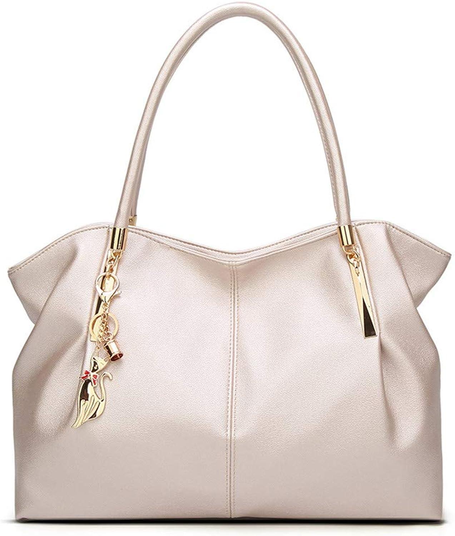 NZZNB Fashion Ladies Bag Classic Retro Handbag Metal Kitten Pendant Large Capacity Shoulder Bag Simple Solid color Satchel Tote Purse Top-Handle Handbags