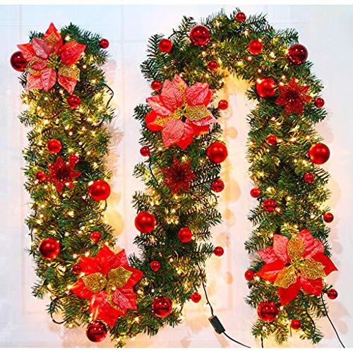 DEGONSGUEG Christmas LED Hanging Decoration, Light String Colorful Ornament Rattan, Xmas Tree Hanging Decor Home Party Wedding Bedroom Wall Garden Ornament Colorful Decoration (Red)
