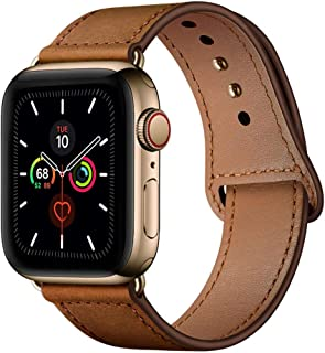 YALOCEA Compatible with Apple Watch Band 38mm 40mm, Genuine Leather Band Replacement Strap Compatible with iWatch Series 5 4 3 2 1 40mm 38mm, Retro Brown Band