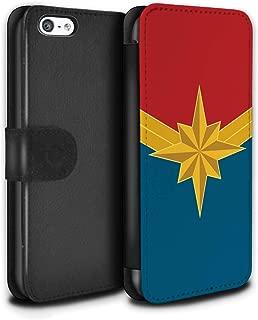 Phone Case Wallet for Apple iPhone 5C Superhero Movie Quotes Art Heroine/Captain Design Flip Faux PU Leather Cover