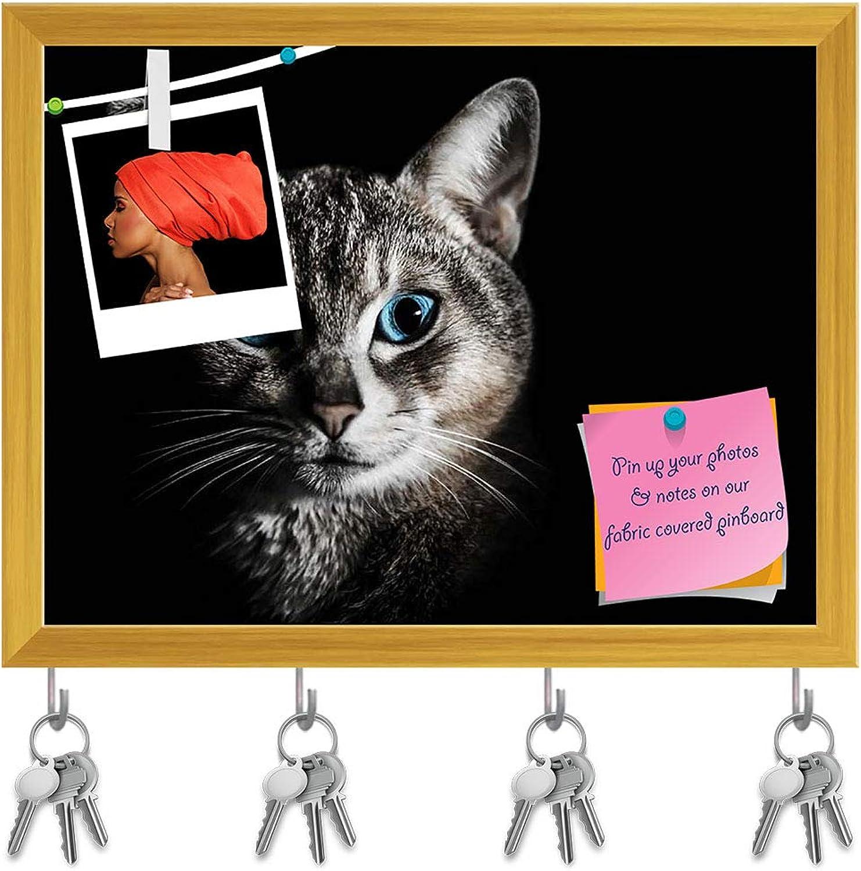 Artzfolio Cat Portrait Key Holder Hooks   Notice Pin Board   golden Frame 15.6 X 12Inch