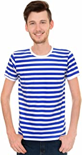 Mens Indie Retro 60's Royal & White Striped Short Sleeve T Shirt