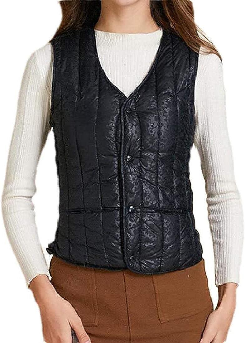 Women Quilted Winter Sleeveless Waistcoats Fleece Lined Vest Jacket