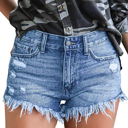 vanberfia Women's Strechy Distressed Denim Shorts (JS2018666, S)