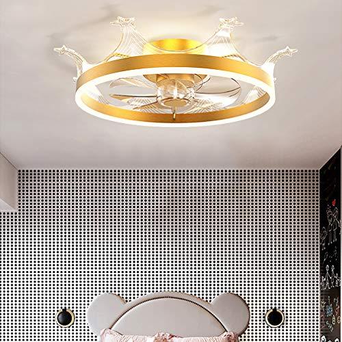 YIYUN Niños Cuarto Aficionados con LED Luces De Techo Y El Tiempo, con Mando A Distancia 3 Velocidades Ajustable Regulable Corona Luz del Ventilador por Sala Salón Comedor,Oro