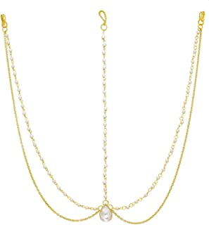 MEENAZ Hair Jewellery Traditional Bridal Gold Pearl Chain Mathapatti Necklace Maang Tikka Jewellery Set for Women Girls Ti...