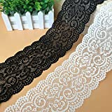 Cinta elástica de encaje de 5 yardas de ganchillo, cinta de ganchillo, banda decorativa, para artesanía, lencería, vestido de boda, decoración, 10 cm de ancho (negro)