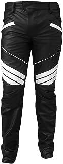 Mens Real Black Genuine Leather Pants Motorbike Rider Trouser Biker Jeans for Men
