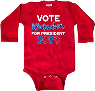 inktastic Elect Klobuchar in 2020 Amy for America in Red and Long Sleeve Creeper