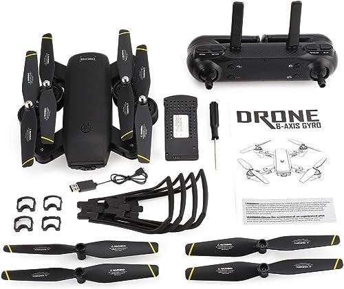 HONGIGI SG700 2.4G RC avec 720P HD WiFi FPV Caméra Optique Débit PositionneHommest Altitude Tenir sans Tête Mode Drone Quadcopter Pliable, Noir
