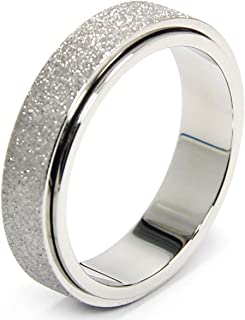 Afftiny Titanium Stainless Steel Fidget Spinner Ring for Women Men, Size 6-10, Width 6MM, 4-Color: Rose Gold-Rainbow-Silve...