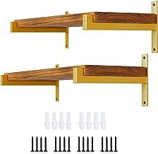 Heavy Duty 35cm drijvende plank beugels, T-vormige wandmontage industriële retro metalen beugels met lip voor wandplanken,...