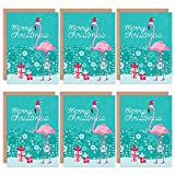 Christmas Cards 6 Pack - Flamingo Merry Christmas Set Blank Cards Cristo Cristo