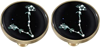 rockcloud Glowing Pisces Drawer Knobs Black Glass Round Pulls Handles for Dresser Cabinet Cupboard Wardrobe Home Furniture...