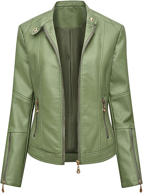 Yiqinyuan Women's Leather Jacket PU Slim Autumn Punk Jackets Motorcycle Biker Coat Fashion Streetwear Coats