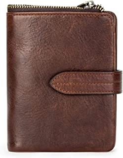 Men's Genuine leather wallet, RFID blocking men's bi-fold purse, leather card case coin purse wallet zipper wallet, 11x 3x...