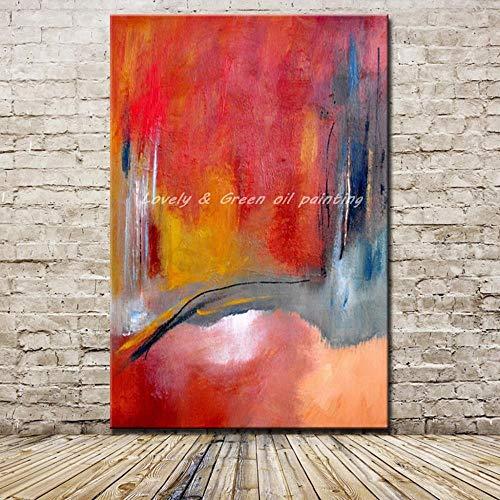 Pintura Al Óleo Pintada A Mano Sobre Lienzo,Resumen Creativo Amarillo Gris Graffiti Fondo Rojo,El Arte Pop Moderno De Gran Tamaño Mural Pintado A Mano Arte Imagen Para Casa Salón Restaurante Dec