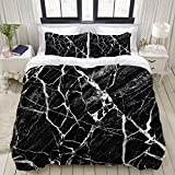 Armida 3 PCS Black Marble Duvet Cover Set 100% Cotton Gother Black and White Abstract Kids Boys Bedding Sets Twin Best Gift Bed Set (1 Duvet Cover + 2 Pillow Shams)