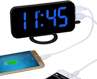EAAGD Easy Snooze and Time Setting LED Digital Alarm Clock, Charging Station Phone Charger with Dual USB Port (Black/Blue)
