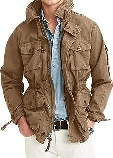 Mens Lightweight Military Safari Jacket Field Cargo Outdoor Zip up Coats Rugged Multi-Pocket Jackets